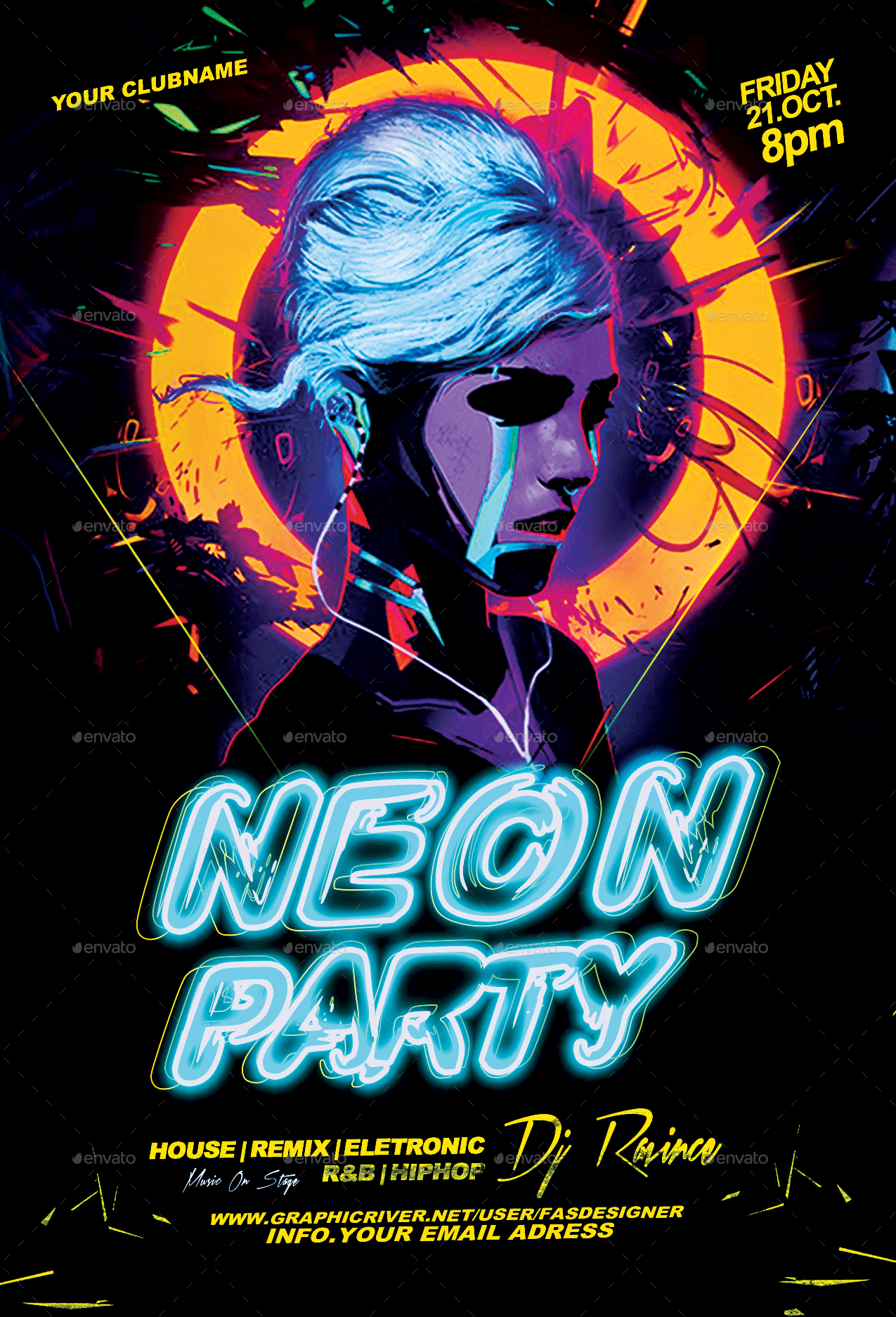 Party Flyer | Neon Party Flyer By Fas Design Graphicriver