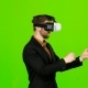 Businessman in Glasses of Virtual Reality, Typing Text. Green Screen