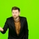 Guy in the Suit Got Angry and Started Shouting Loudly. Green Screen
