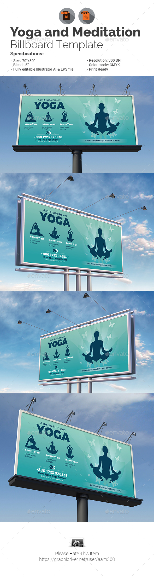 GraphicRiver Yoga and Meditation Billboard Template 20298245