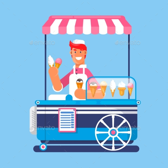 Trolley with Ice Cream - Food Objects