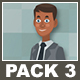 Black Businessman And Black Businesswoman Cartoon Characters Pack 3