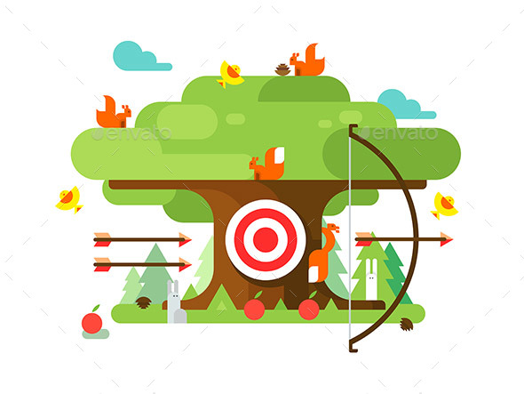 Right Targets Tree with Animal - Miscellaneous Vectors