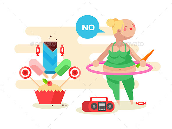 Obese Girl with a Hoop - Sports/Activity Conceptual