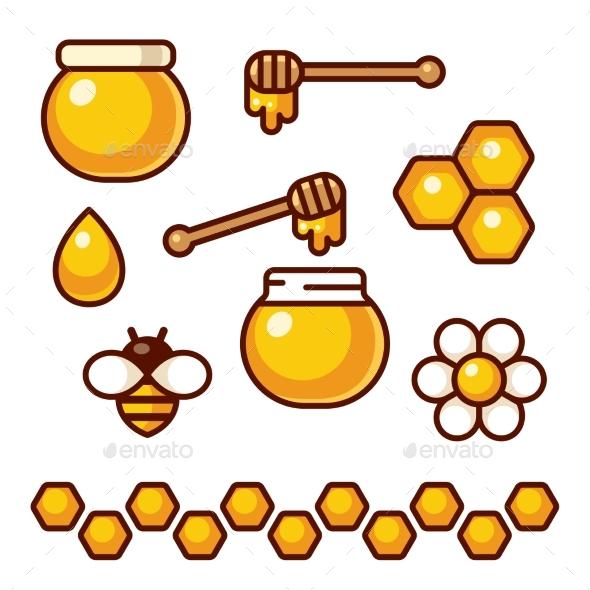 Honey Icon Set - Food Objects