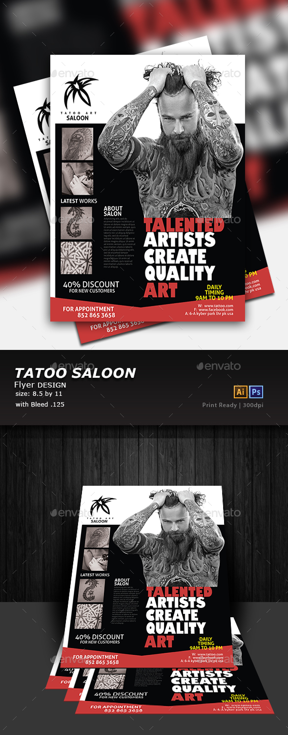 Tattoo Flyer Design - Flyers Print Templates