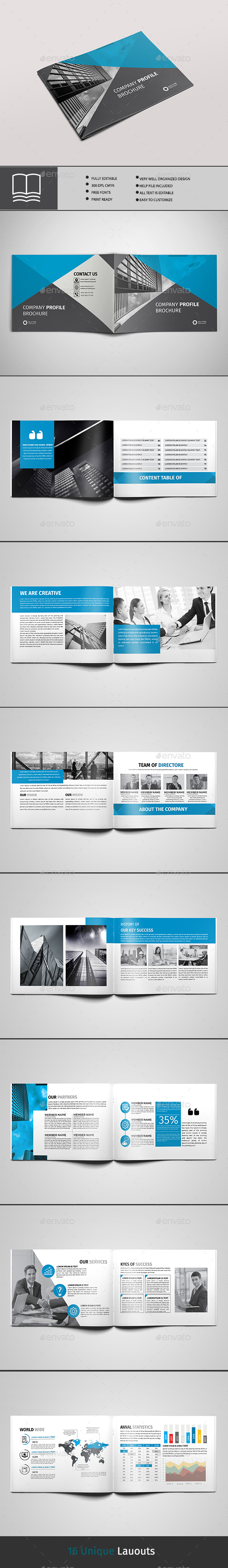 Company Profile 16 Page - Brochures Print Templates
