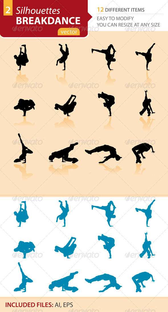 Breakdance silhouettes Set2 - Sports/Activity Conceptual