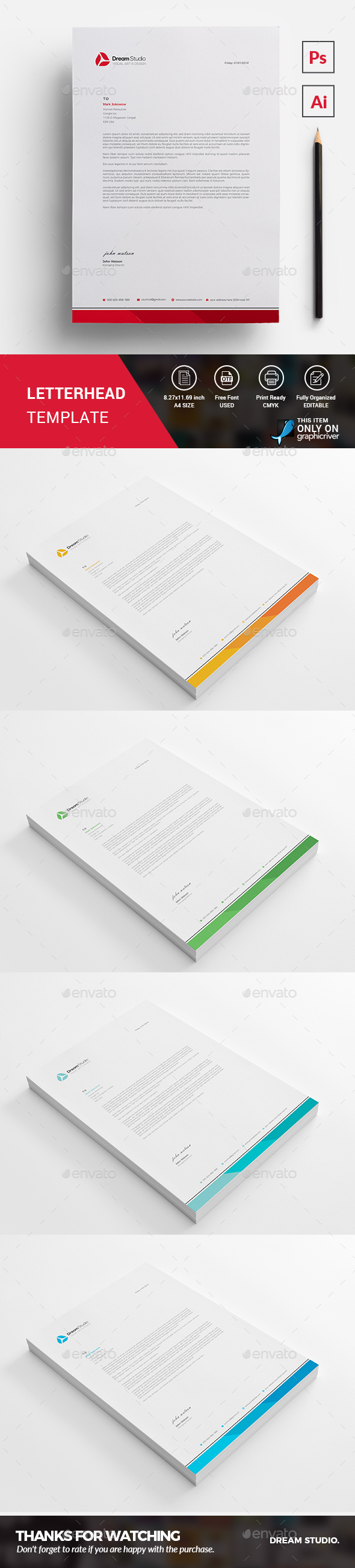 Letterhead Template - Business Cards Print Templates