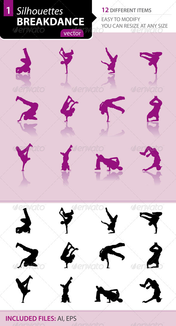 Breakdance silhouettes Set1 - Sports/Activity Conceptual