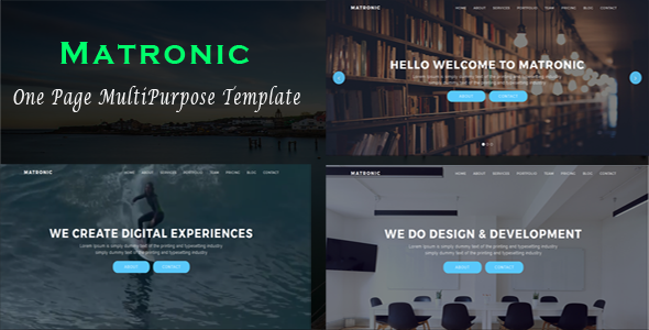 ThemeForest Matronic One Page MultiPurpose Template 20122782