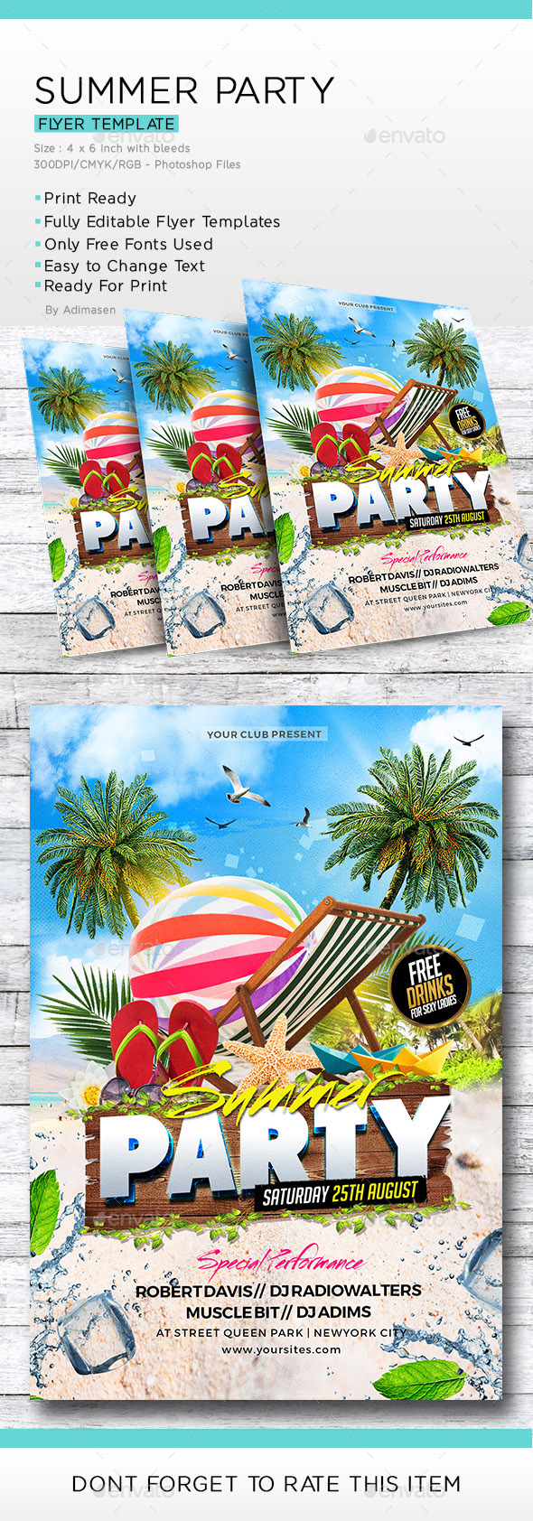 Summer Party Flyer Template - Flyers Print Templates