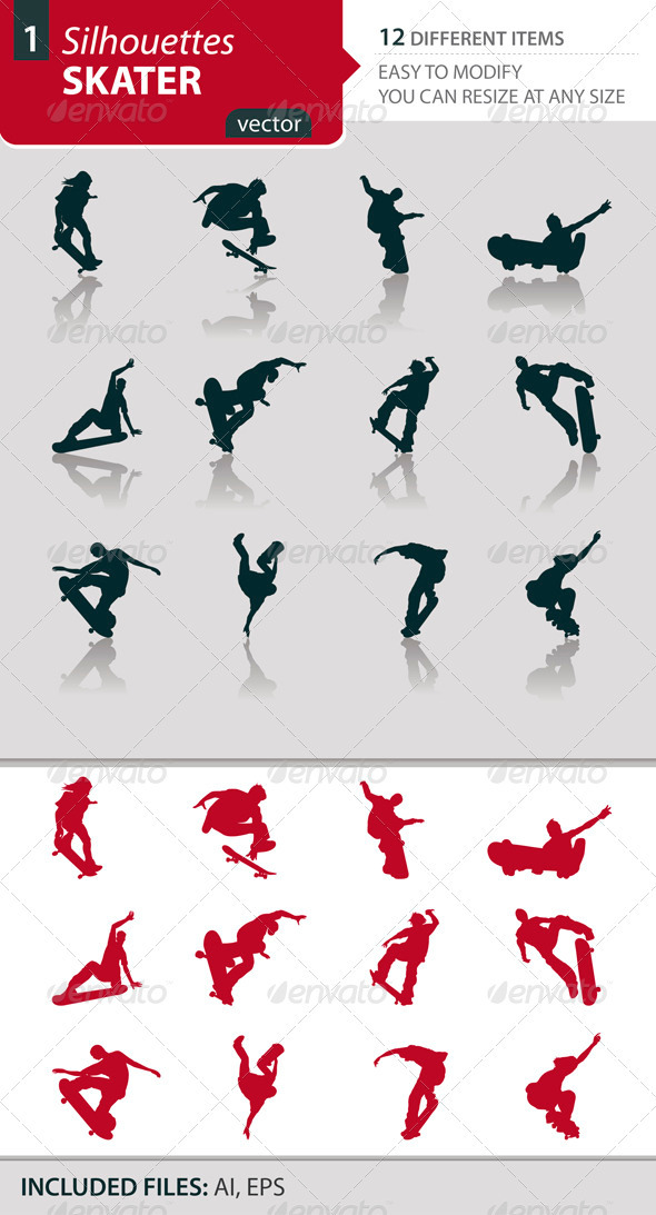 Skater silhouettes Set1 - Sports/Activity Conceptual