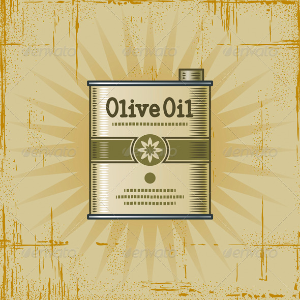 Retro Olive Oil Can - Food Objects