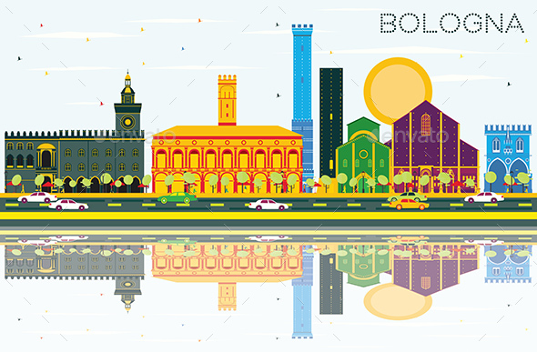 Bologna Skyline with Color Landmarks, Blue Sky and Reflections - Buildings Objects