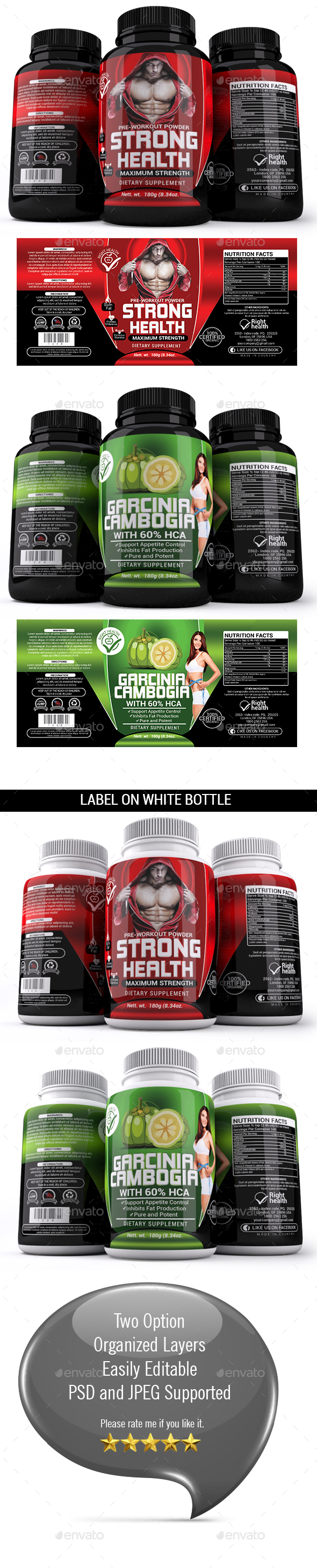 Supplement Label Template - 018 - Packaging Print Templates