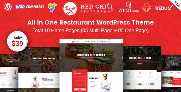 ThemeForest Red Chili Restaurant WordPress Theme 20166175