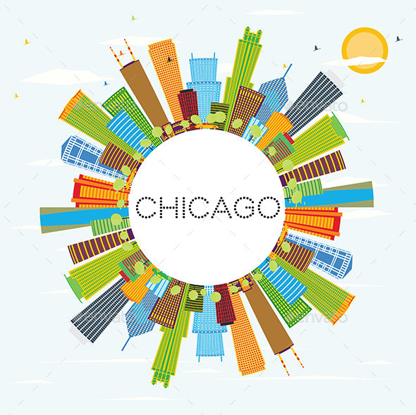 Chicago Skyline with Color Buildings and Copy Space - Buildings Objects