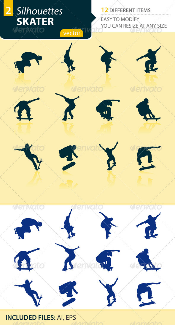 Skater silhouettes Set2 - Sports/Activity Conceptual