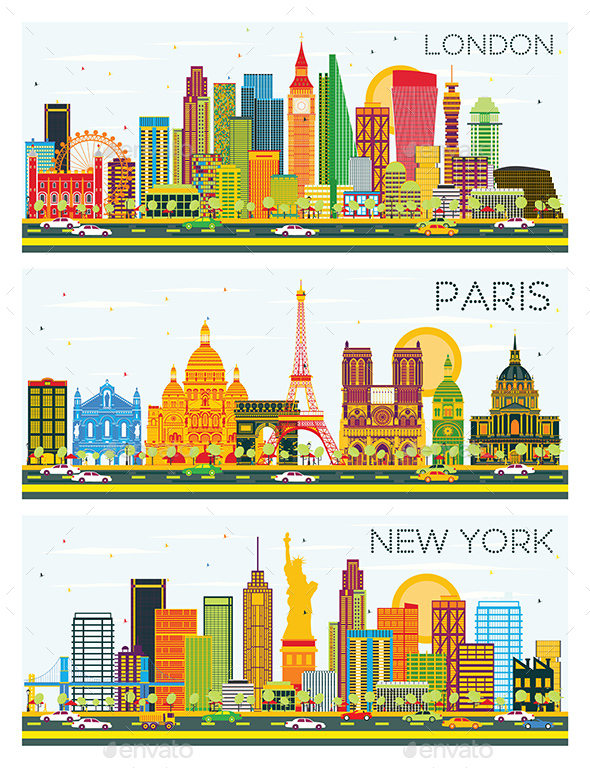 GraphicRiver London Paris New York Skyline with Color Buildings and Blue Sky 20299740
