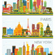 London, Paris, New York Skyline with Color Buildings and Blue Sky