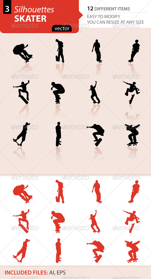 Skater silhouettes Set3 - Sports/Activity Conceptual