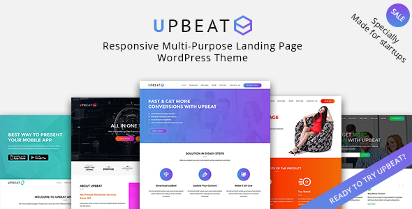 ThemeForest Upbeat Responsive Multi-Purpose Landing Page WordPress Theme 19944037