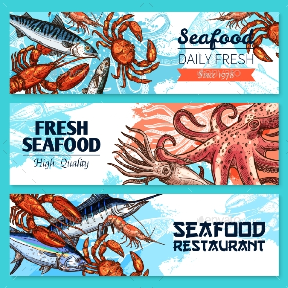 Seafood Restaurant Banners Vector Sketch Set - Animals Characters