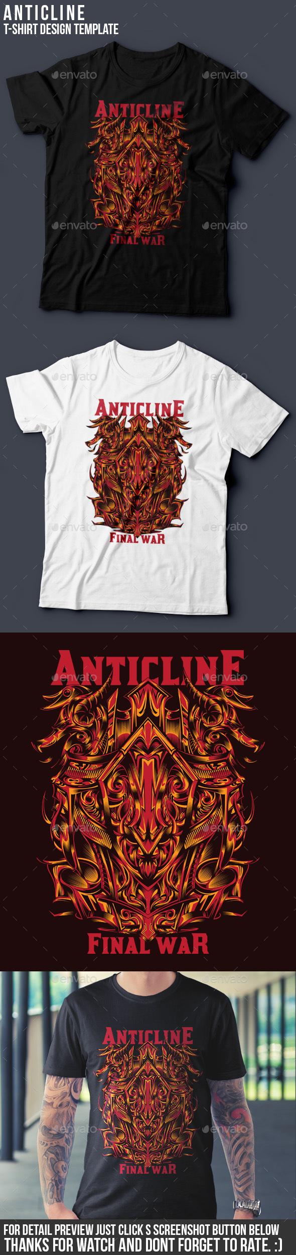 Anticline T-Shirt Design Template - Grunge Designs