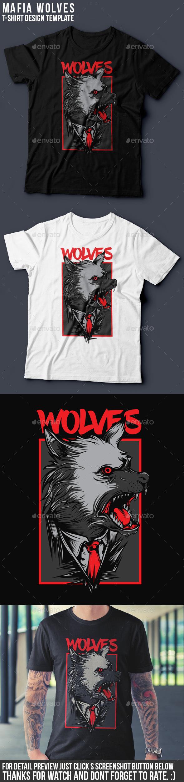 Mafia Wolves T-Shirt Design - Grunge Designs
