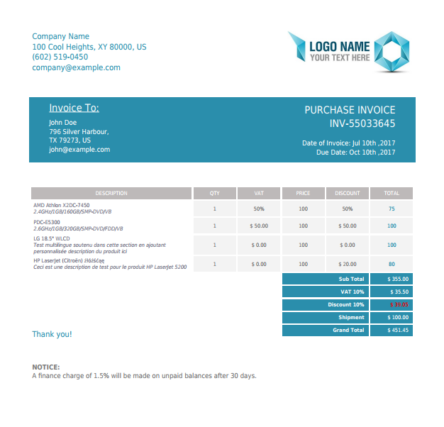 invoice html template  PHP Invoice X2 - PHP Class For Beautiful PDF Invoices Using HTML ...