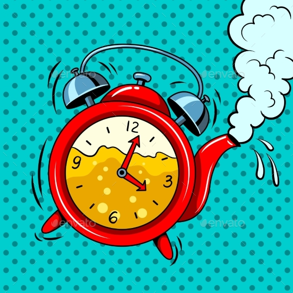 Alarm Clock in Teapot with Tea Pop Art Vector - Man-made Objects Objects