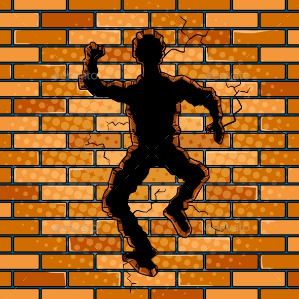 Human Silhouette Hole in Brick Wall Pop Art Vector - People Characters