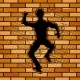 Human Silhouette Hole in Brick Wall Pop Art Vector