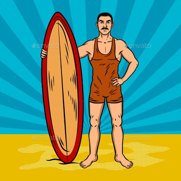 Old Fashioned Surfer Pop Art Vector - People Characters