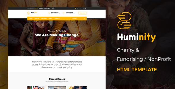 Huminity - Responsive HTML Template for Charity & Fund Raising - Charity Nonprofit