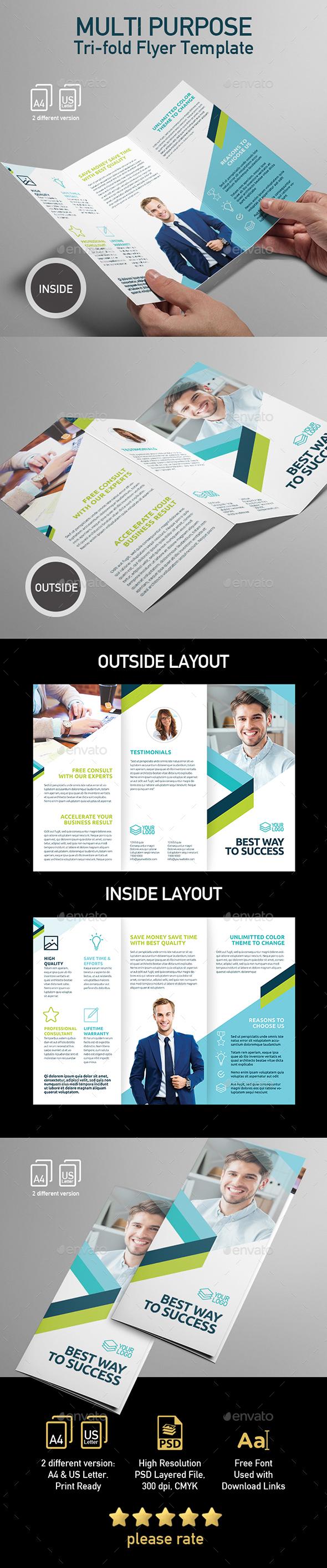 Multi purpose Tri-fold Brochure Template - Corporate Brochures