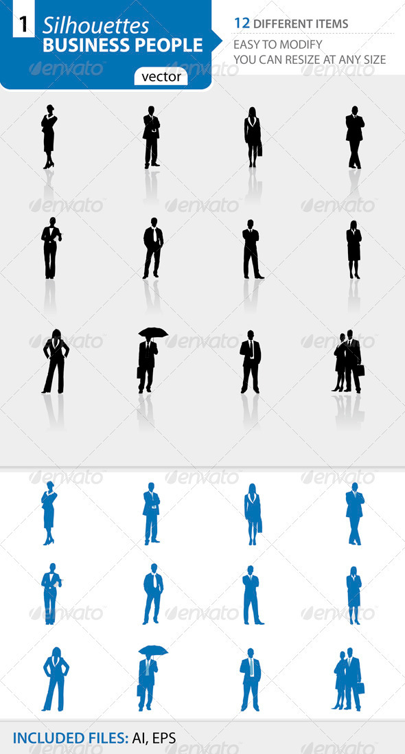 Business people silhouettes Set1 - Business Conceptual