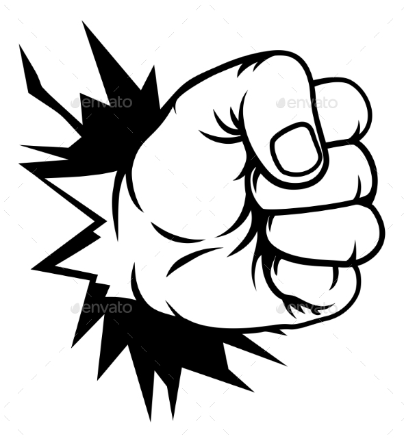 Fist Hand Punching Through Wall - Miscellaneous Vectors