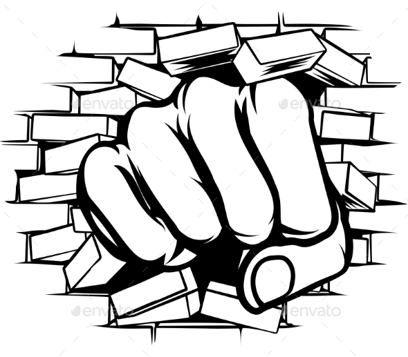 GraphicRiver Punching Fist Through Brick Wall 20302341