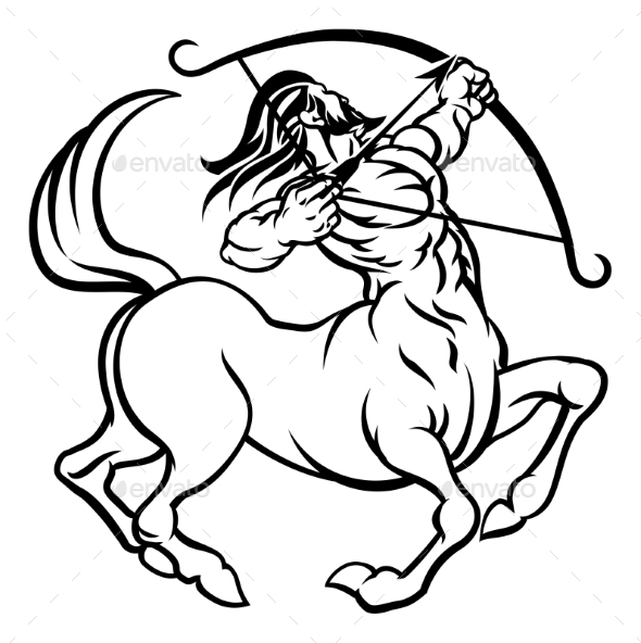Zodiac Signs Sagittarius Centaur - Miscellaneous Vectors