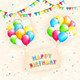 Birthday Card and Flying Balloons on Grunge Background
