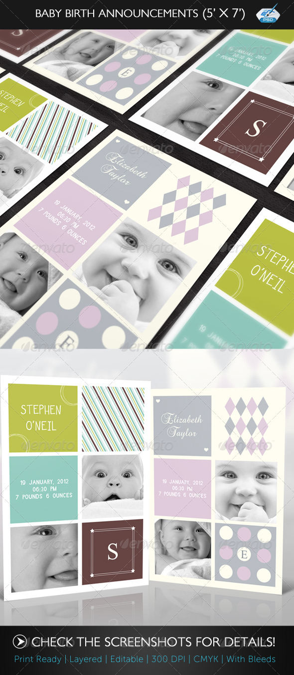 Baby Birth Announcement Boy & Girl - Family Cards & Invites