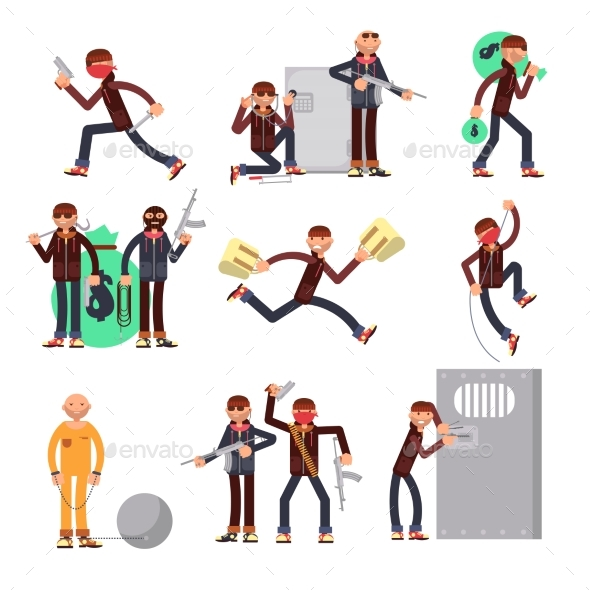 Criminal Offender in Different Actions Vector Set - People Characters