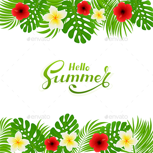 Palm Leaves and Flowers on White Background - Flowers & Plants Nature