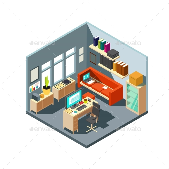 Isometric Home Office Interior - Man-made Objects Objects