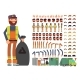 Sanitation Worker Vector Man Character