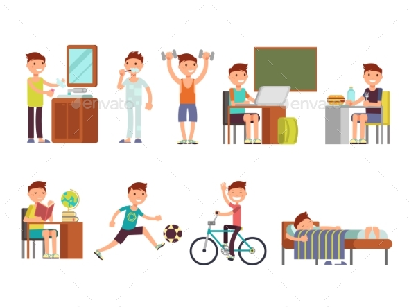 Child Daily Routine Vector Set - People Characters