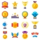 Trophy Medals and Winning Ribbon Success Icons