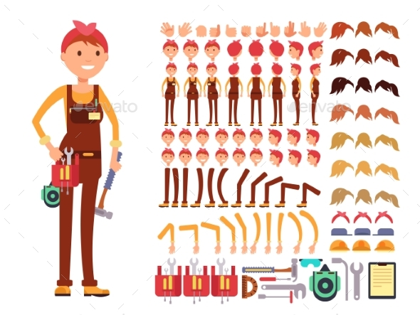 Female Technician Cartoon Vector Character - People Characters